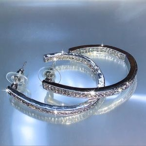 Silver & Crystal 3/4 Oval Stud Hoop Earrings